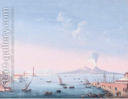 Vessels in the Bay of Naples, Vesuvius beyond by Neapolitan School - Reproduction Oil Painting