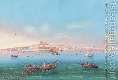 View of Naples by Neapolitan School - Reproduction Oil Painting
