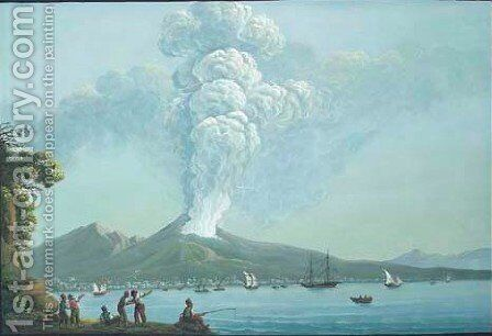 The eruption of Vesuvius seen across the bay by Neapolitan School - Reproduction Oil Painting