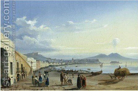 Naples, A View Of The Harbour by Neopolitan School - Reproduction Oil Painting