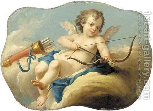 Cupid Seated On A Cloud Holding A Bow And Arrow Painting By Pierre Jollain 1st Art Gallery