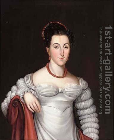 Portrait of a lady, half-length, in a white dress with a red necklace by Spanish School - Reproduction Oil Painting