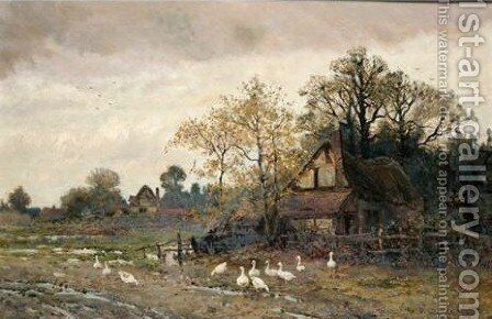 Geese In The Farmyard 2 by Theodore Hines - Reproduction Oil Painting