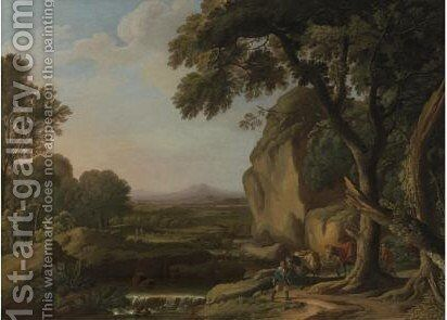Landscape With Travellers by (after) Angeluccio - Reproduction Oil Painting