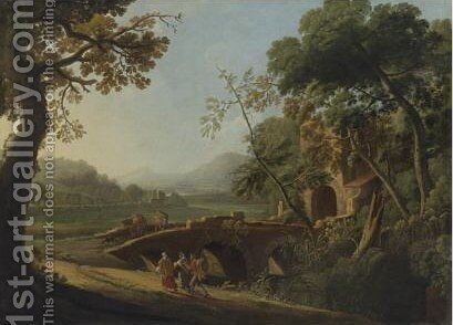 Landscape With Travellers 2 by (after) Angeluccio - Reproduction Oil Painting