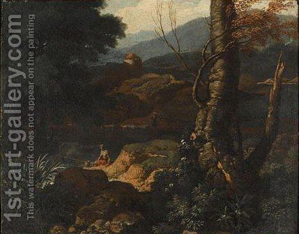 An Italianate Landscape With A Fisherman In The Foreground, A Drover Beyond by (after) Bartolomeo Torregiani - Reproduction Oil Painting