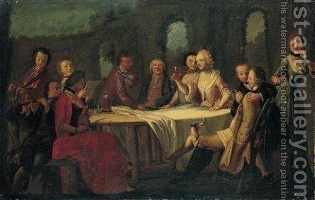 Figures Gathered Around A Table With Musicians by (after) Filippo Falciatore - Reproduction Oil Painting