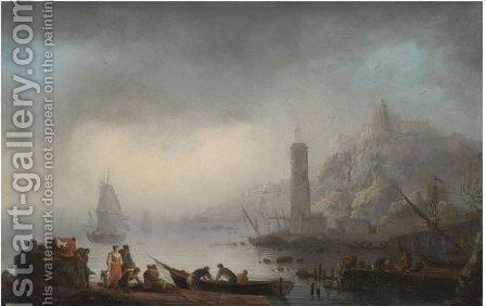 A Rocky Coastal Landscape With A Lighthouse And Fishermen Unloading Their Catch by (after) Francesco Fidanza - Reproduction Oil Painting