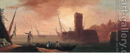 View Of A Mediterranean Port With Figures 2 by (after) Francesco Fidanza - Reproduction Oil Painting