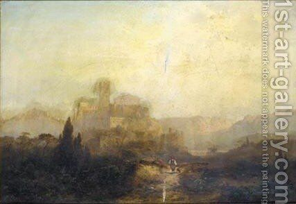 A Greek Landscape With A Castle And A Temple On A Hill by (after) Franz Emil Krause - Reproduction Oil Painting