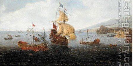 An English Frigate Flanked By Ottoman State Barges And Other Vessels Off The Shores Of A Coastal Town by (after) Gaspard Van Eyck - Reproduction Oil Painting