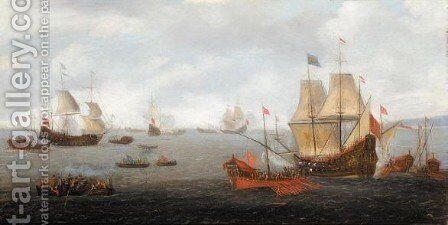 Two Dutch Men O' War Accompanied By Ottoman State Barges With Figures In Rowing Boats by (after) Gaspard Van Eyck - Reproduction Oil Painting