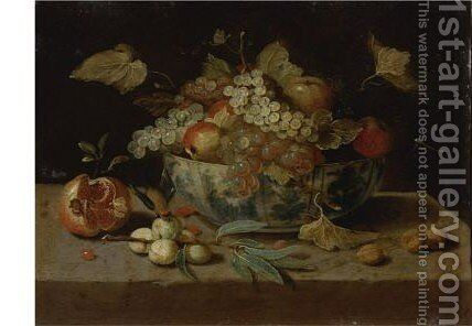 Still Life Of A Bowl Of Fruit, A Basket Of Strawberries, Figs, A Pomegranate And Peaches On A Ledge by (after) Jan Van Kessel I - Reproduction Oil Painting