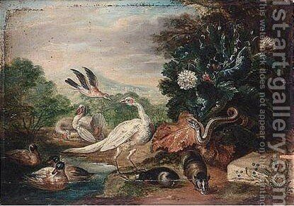 Landscape With A Peacock, Turkey, Pheasant, Duck, Jay, Guinea Pigs, A Snake And A Heron by (after) Jan Van Kessel I - Reproduction Oil Painting