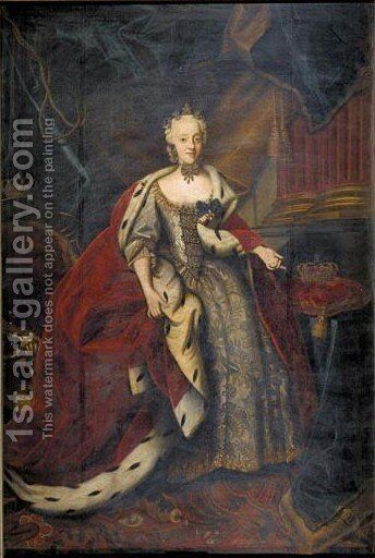 Portrait Von Prinzessin Charlotte Amalie Von Danemark, Tochter Von Konig Frederick IV. (1706-1782) by (after) Johann Salomon Wahl - Reproduction Oil Painting
