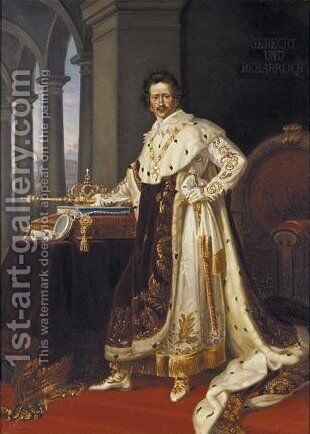 Portrait Of Ludwig I King Of Bavaria Wearing Coronation Robes With Crown And Sceptre by (after) Joseph Karl Stieler - Reproduction Oil Painting