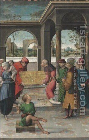 The Burial Of Saint Stephen by (after) Juan Rodriguez De Solis - Reproduction Oil Painting