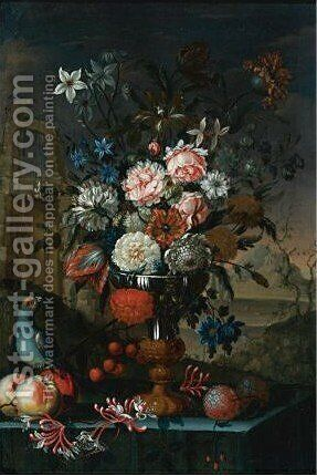 Still Life Of Flowers In A Silver And Gilt Urn With Cherries, Other Fruit And A Parrot, All Resting On A Table With A Landscapee by A. Sangiovanni - Reproduction Oil Painting