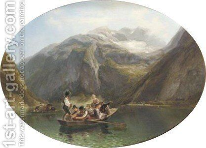 Figures In A Boat On The Konigsee by Adolf Schmitz-Crolenburgh - Reproduction Oil Painting