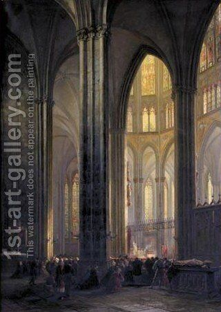Interior Of Cologne Cathedral With A Ceremony In Progress by Andreas Christian Ludwig (louis) Tacke - Reproduction Oil Painting