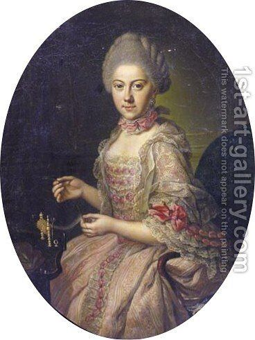 Portrait Of Augusta Dorothea Princess Of Brunswick-Wolfenbuttel (1749-1810) by Anna Rosina De Gasc - Reproduction Oil Painting