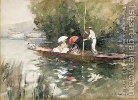 Punting On The Thames by Benjamin E. Minns - Reproduction Oil Painting