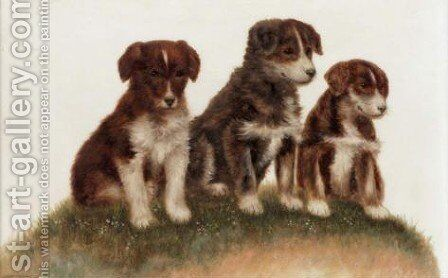 Puppies by Bessie Bamber - Reproduction Oil Painting