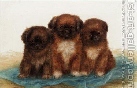 Puppies 2 by Bessie Bamber - Reproduction Oil Painting