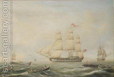 British Whaling Ships by Carl Justus Harmen Fedeler - Reproduction Oil Painting