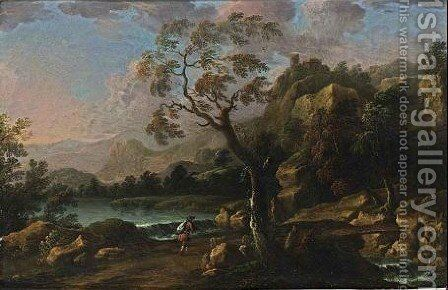 A Stormy River Landscape With Waterfalls And A Traveller On A Path by Carlo Eismann (Brisighella) - Reproduction Oil Painting