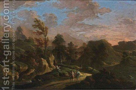 A Stormy Mountainous Landscape With Travellers On A Path by Carlo Eismann (Brisighella) - Reproduction Oil Painting