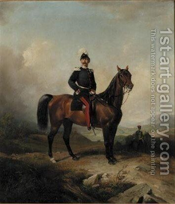 Portrait Of Major Rudorff On Horseback by Conrad L' Allemand - Reproduction Oil Painting