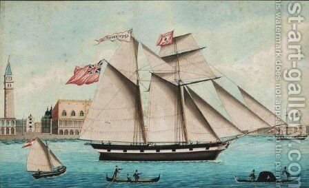The Schooner Catharine, George Shand Commander, Leaving The Port Of Venice, 1847 by Giovanni (john) Luzzo - Reproduction Oil Painting