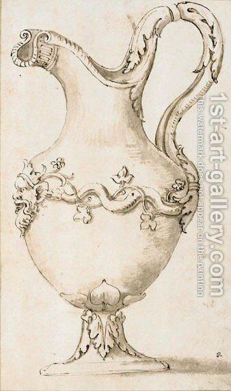Design For A Ewer With Acanthus Leaves And The Head Of A Faun by Giulio Pippi (Giulio Romano) - Reproduction Oil Painting