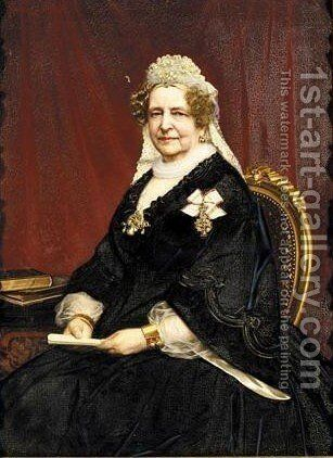 Portrait Of A Lady, Probably Friederike Queen Of Hanover by Hans Christian Jensen - Reproduction Oil Painting