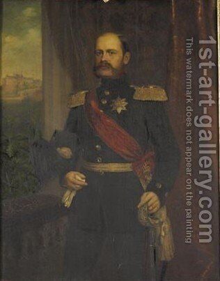 Portrait Of Ernst Duke Of Saxe-Altenburg, Brother Of Queen Marie Of Hanover by Heinrich Jonathan Finke - Reproduction Oil Painting