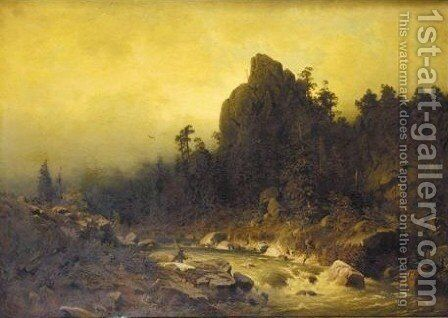 A Fisherman By A Mountain Torrent by Heinrich Ludwig Frische - Reproduction Oil Painting