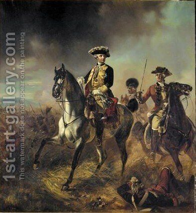 Portrait Of Wilhelm Duke Of Brunswick-Luneburg, On A Grey Horse, Wearing Uniform by Hermann August Theodor Tunica - Reproduction Oil Painting
