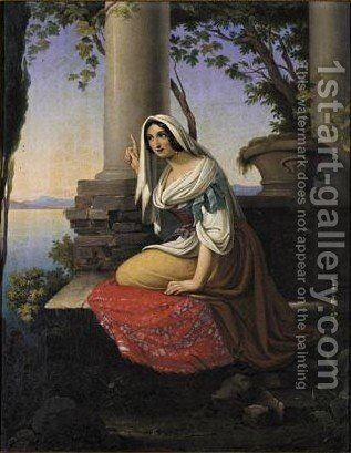 A Woman By A Lakeside by I. Vielrich - Reproduction Oil Painting