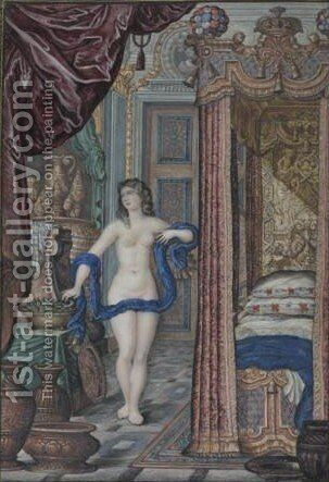 Cleopatra And The Asp In An Elegant Interior by Jan Berents - Reproduction Oil Painting
