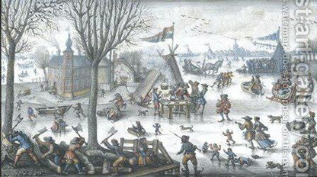 Winter Landscape With Numerous Figures On A Frozen River, Men Cutting Wood In The Foreground, And A Distant View Of The Hague by Jan Berents - Reproduction Oil Painting
