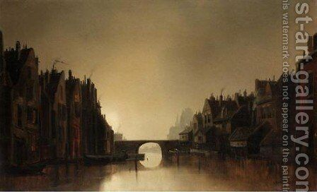 A Dutch Canal Scene by Joachim Hierschl-Minerbi - Reproduction Oil Painting