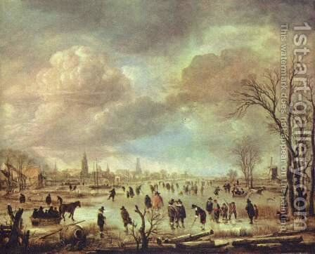 River view in the winter by Aert van der Neer - Reproduction Oil Painting