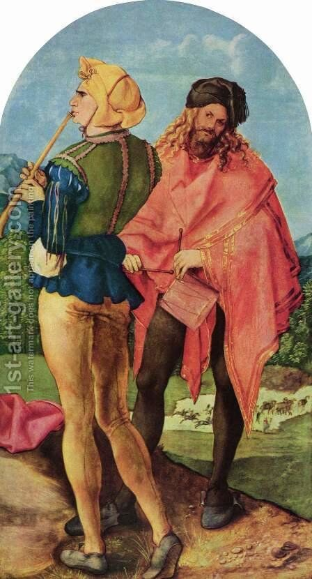 Epiphany altar outside of the right wing scene drummers and pipers by Albrecht Durer - Reproduction Oil Painting
