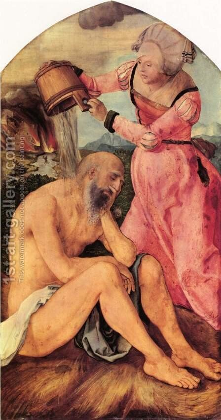 Jabach altar, scene of Job mocked by his wife by Albrecht Durer - Reproduction Oil Painting