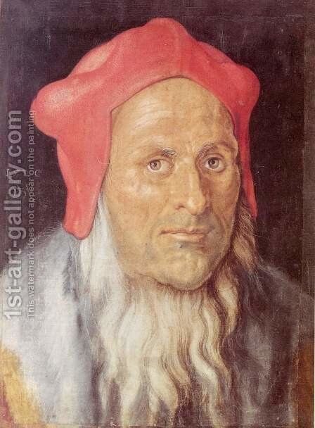 Portrait of a bearded man with red cap by Albrecht Durer - Reproduction Oil Painting
