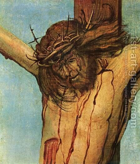 Crucifixion scene, Christ on the Cross with Mary and John, detail of Christ by Albrecht Altdorfer - Reproduction Oil Painting