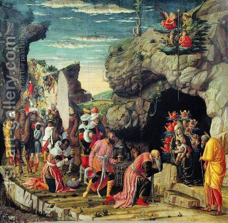 Altarpiece of the palace chapel of the Duke of Mantua, Scene adoration of the Three Holy Kings by Andrea Mantegna - Reproduction Oil Painting