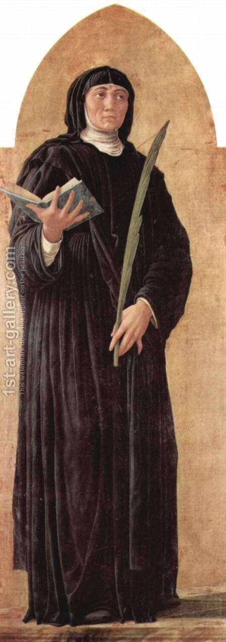 Altarpiece of St. Luke, St. Scholastica Detail by Andrea Mantegna - Reproduction Oil Painting