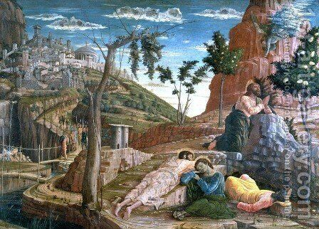 Altarpiece of San Zeno in Verona, triptych, left Predellatafel Christ on the Mount of Olives by Andrea Mantegna - Reproduction Oil Painting